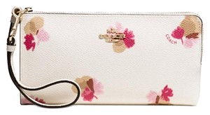 Coach COACH Floral-Print Coated Canvas Zip Wallet 53842 New/beautiful!!!