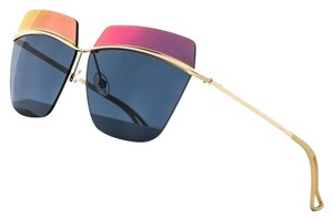 f05e1ea6b4 Dior Metallic 53MM Square Sunglasses Gold Orange Blue Mirror