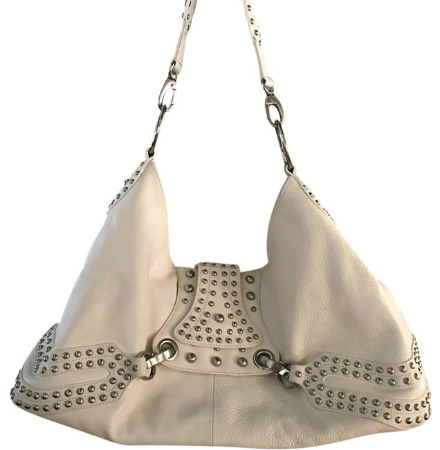 Item - With Studs Ivory Leather Hobo Bag