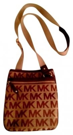Michael Kors Monogram Leather Canvas Cross Body Bag