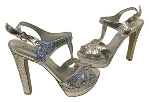 Guess Sparkles T & Ankle Straps Peep Toe Silver Platforms