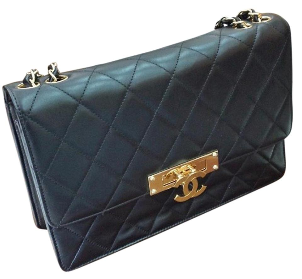 167a8f54c08e Chanel Classic Flap Golden Class Large Medium Black Gold Quilted ...