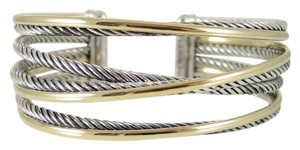 David Yurman David Yurman Sterling Silver 18K Yellow Gold 4-Row Crossover Cuff with Gold Bracelet