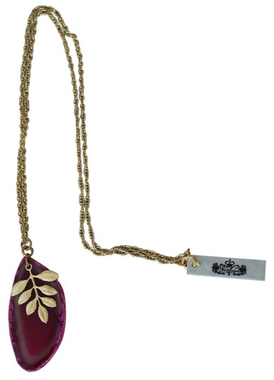 Privileged Privileged Sliced Agate Goldtone Leaf Necklace