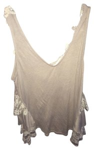 Altar'd State Lace Detailed Back Top grey and white