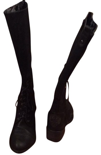 Ed Hardy Black With Light Tiger Print On Back Heels Boots