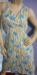 Gymboree short dress Blue Green sea colors on white Star Fish Fish Turtle Coral on Tradesy