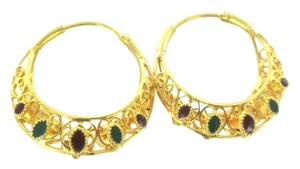 22K YELLOW GOLD EARRINGS HOOP ENAMEL BOLLYWOOD FINE JEWELRY GREEN RED NO SCRAP