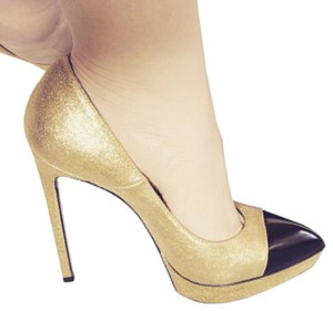 Saint Laurent Gold Night Out Date Night Gold, black Pumps