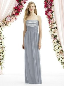 After Six Platinum Gray Tulle 6743 Modern Bridesmaid/Mob Dress Size 8 (M)