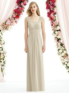 After Six Palomino Beige Chiffon 6741 Modern Bridesmaid/Mob Dress Size 10 (M)