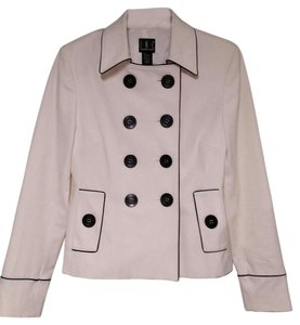 INC International Concepts Trench Black And Nautical white Jacket