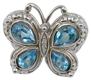 Swiss Blue Topaz (2.45cttw) and Diamond Sterling Silver Butterfly Ring - Size 7
