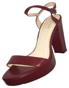 Guess By Marciano Open Toe Adjustable Strap Chunky Heels Ankle Strap Red Sandals