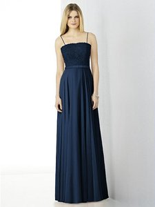 After Six Midnight Navy Lace and Chiffon 6732 Feminine Bridesmaid/Mob Dress Size 8 (M)