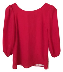 LC Lauren Conrad Lace Back Top Red