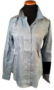 G.I.L.I. Tencel Denim Jean Shirt Button Down Shirt Light Wash Blue