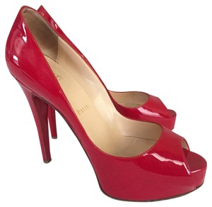 Christian Louboutin Patent Very Prive Platform Red Pumps