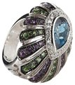 "Yours By Loren Yours By Loren 5.04ct Multigemstone Sterling Silver ""Peacock"" Ring - Size 8"