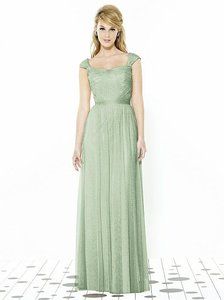 After Six Celadon Green Tulle 6724 Feminine Bridesmaid/Mob Dress Size 14 (L)