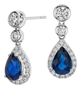 Avi and Co 2.80 cttw Pear Shape Sapphire & Round Diamond Drop Earrings 14K White Gold