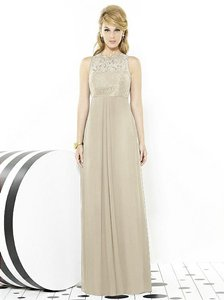 After Six Palomino Beige Lace 6722 Feminine Bridesmaid/Mob Dress Size 10 (M)