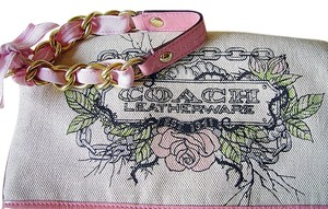 Coach Limited Edition Clean Tattoo Monogram Chain No Stains/odors Wristlet in Beige/Pink/gold glitter
