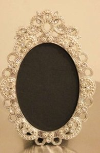 Set Of 10 Vintage Style Oval Jeweled Rhinestone Frame Bling Silver Diamond Chalkboard Table Number Frames Ornate Picture