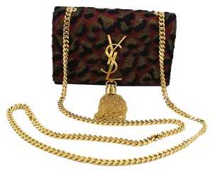 Saint Laurent Monogramme Leopard Jacquard Print Tassel Cross Body Bag