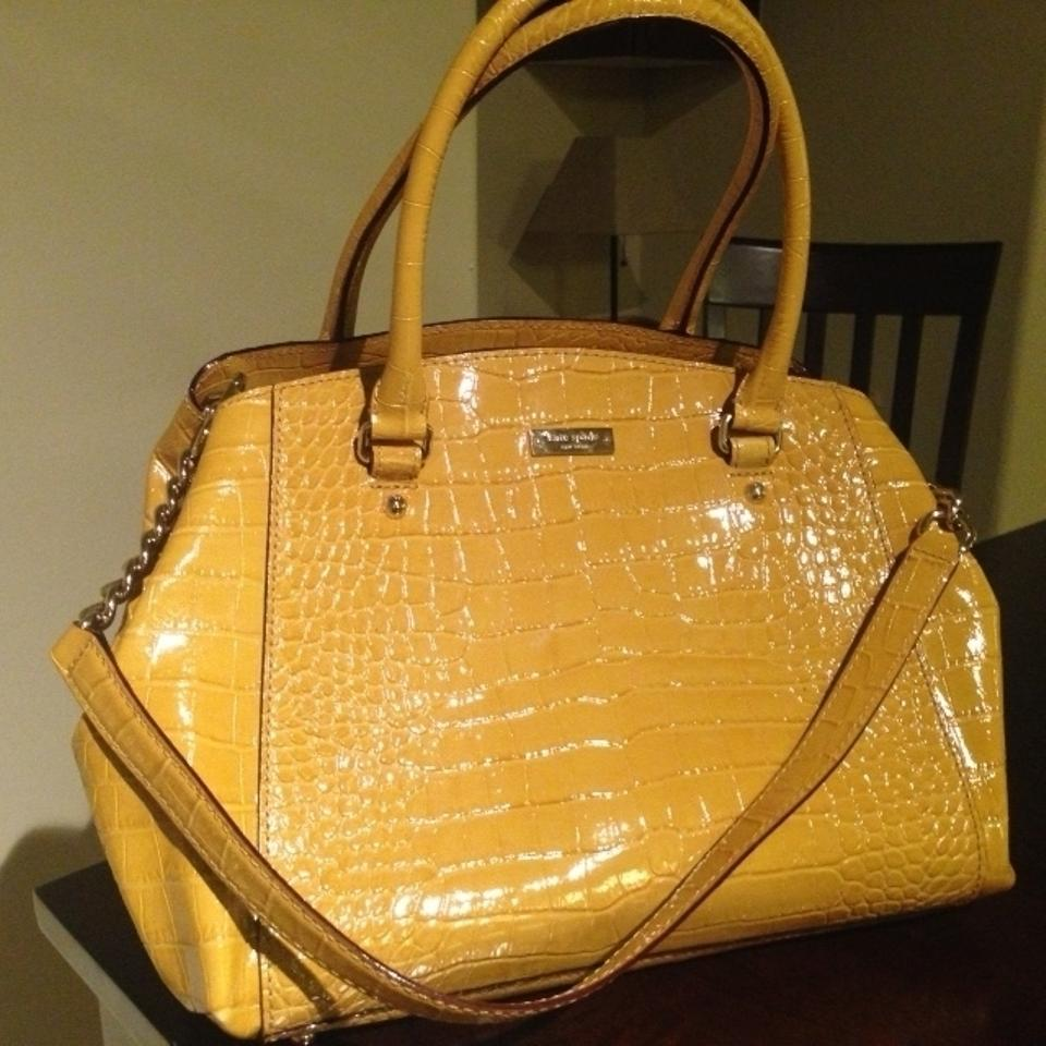 Kate Spade Patent Leather Croc Satchel In Yellow 123456