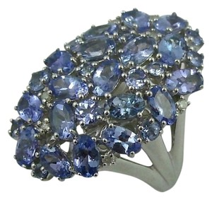 Other Sterling Silver 4.20cttw Tanzanite Bold Oval Cluster Ring - Size 7