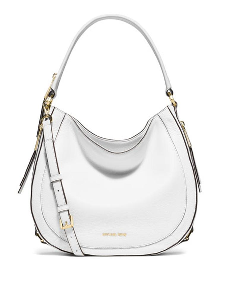 Michael Kors Julia Medium Convertible Optic White Leather Shoulder ... ccc67ab9ae