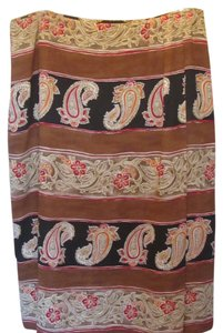 Chaus Skirt camel with black and paisley