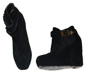 Betsey Johnson Suede Wedge Buckle Black, Gold Boots