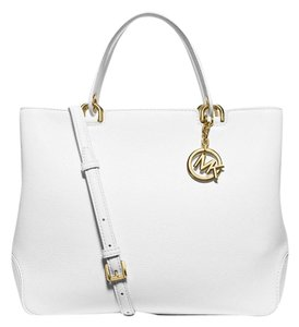 Michael Kors Anabelle Large Leather Satchel in Optic White