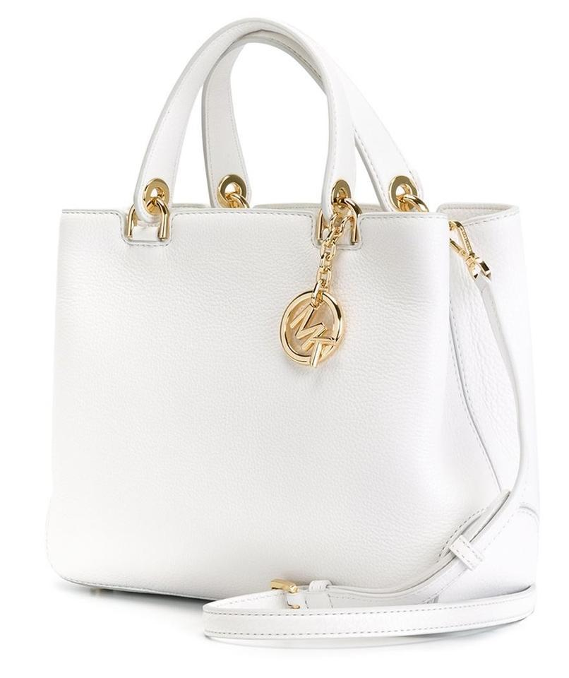 a9c6861a561e4c Michael Kors Leather Large Small Pebble Anabelle Top Zip Tote in Optic White  Image 0 ...