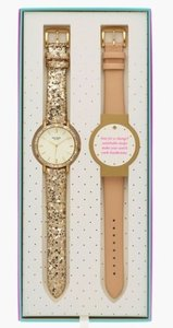 Kate Spade Kate Spade Metro Grand Interchangeable Watch Gold Glitter Tan Strap Gift Box