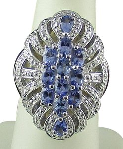Other 1.70cttw Tanzanite Vintage Cluster Ring - Size 6