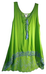 Krista Lee Cord Hi-low Cut Top green and blue
