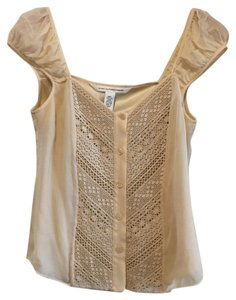 Diane von Furstenberg Lace Dvf Cap Sleeves Silk Top Light Peach