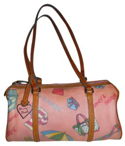 Dooney & Bourke Vintage Beach Print Canvas Satchel in pink & tan multi