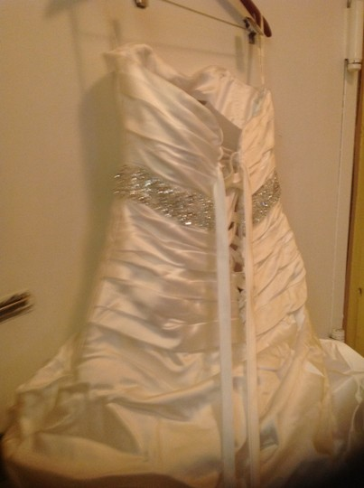 Maggie Sottero White Satin Calista Gown Modern Wedding Dress Size 10 (M)