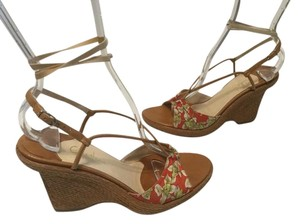 Cole Haan Ankle Straps Daffodils Italian Open Toe Woven Multi color fabric and leather Wedges