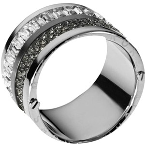 Michael Kors Michael Kors Silver Barrel RIng Sz 7 Pave & Stone w/ Defects