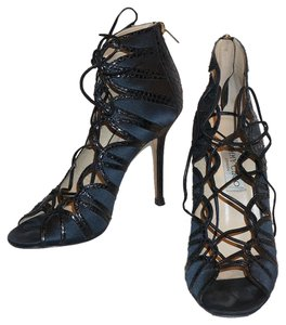 Jimmy Choo Lace Up Satin Elaphe-trim Navy Sandals