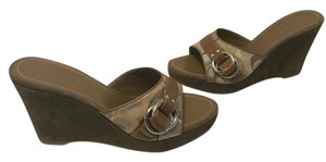 Coach Logos Silver Rings Suede Covered Slip On Open Toe Multi color fabric and leather Wedges