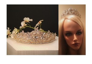 Bridal Gold Plated Austrian Crystal Tiara Style T-010-b