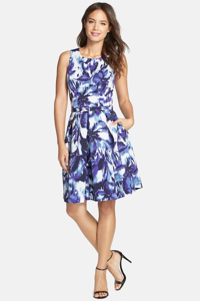 Eliza j blue multi floral print faille fit flare sheath for Wedding guest dresses sale