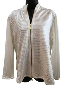 Chico's Stretch Gold Zip Ivory Jacket