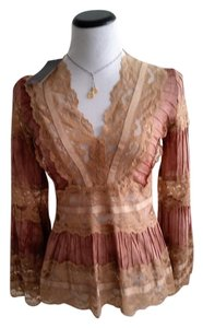 Akira Lace Romantic Industrial Chic Top Brown